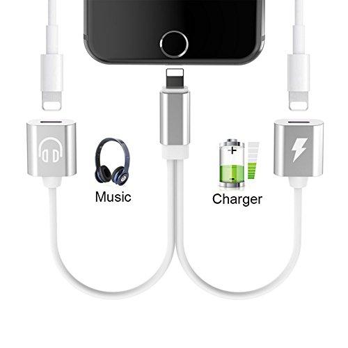 Dual Lightning Kopfhörer Audio Adapter für iPhone X/10/8/8 Plus iPhone 7/7 Plus Konverter,XSYFAFA 2 in 1 Lightning AUX Kopfhörer Adaptor und Aufladen Kabel Splitter,Unterstützung Music Control und Aufladen und Anrufen.(Kompatibel mit iOS11-System oder höh