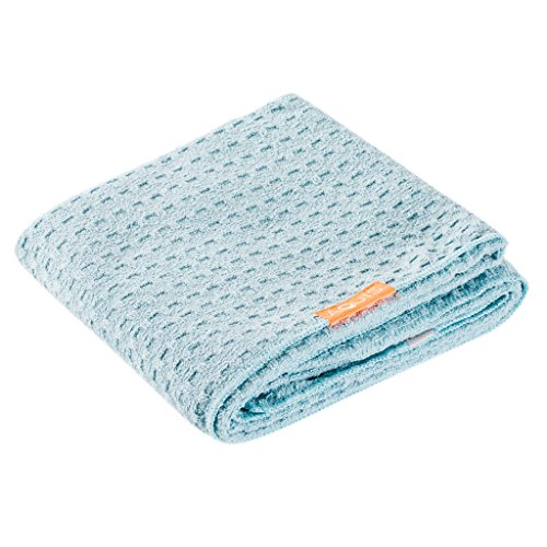 Aquis - Waffle Luxe Haartrockentuch, hoch saugfähiges und schnell trocknendes Handtuch aus Mikrofaserstoff für alle Haartypen, blau (48,3x 106,7cm)