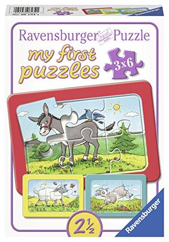 Ravensburger 06134 - Esel, Schaf und Ziege, my first puzzles 3x6 Rahmenpuzzle