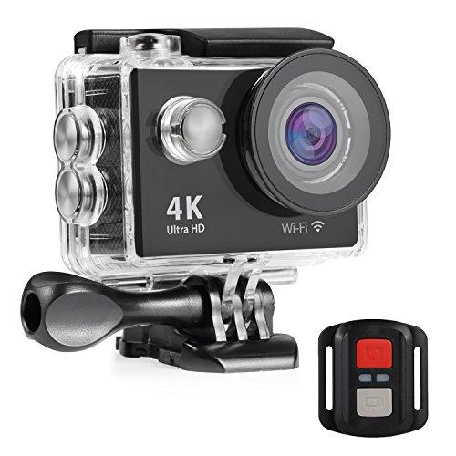 NEXGADGET 4K WIFI Action Kamera 12 MP 2.4 G RC Fernbedienung mit 170° Weitwinkel Sport Action Camera IP68 Wasserdichte Actioncam mit 2 Wiederaufladbare Batterien und viele Zubehör