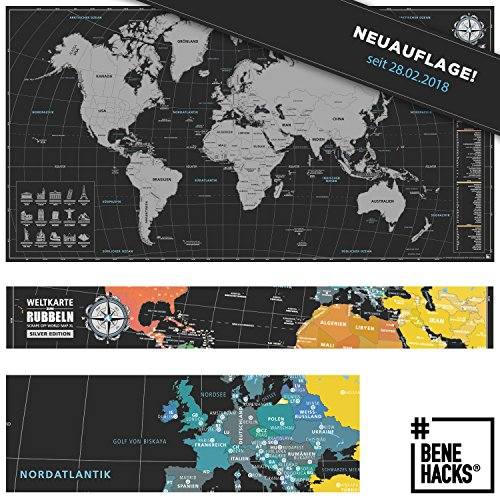 #benehacks® Weltkarte zum Rubbeln - Rubbelweltkarte - Landkarte zum Freirubbeln (Farbe Silber / Schwarz 84 x 44 cm, inkl. Geschenkverpackung)