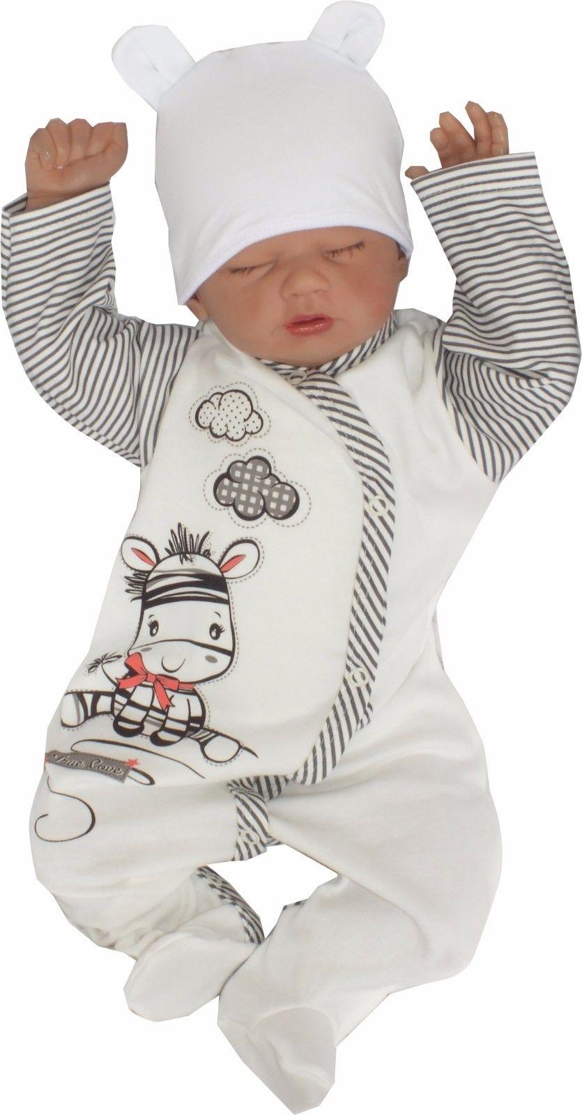 100% Baumwolle Unisex Baby Strampler gr 56 62 Schlafanzug zebra