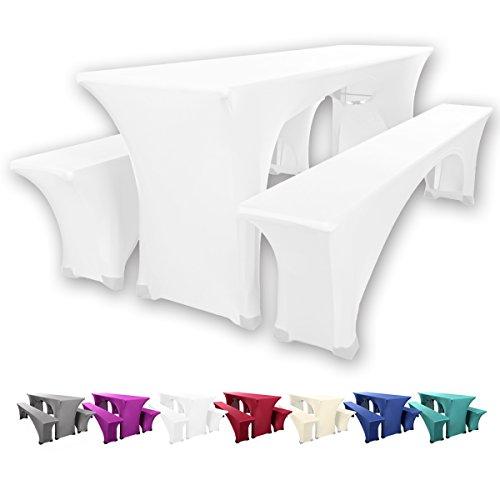 Gräfenstayn® Leopold Stretch Biertischhussen-Set 3 tlg für Bierzeltgarnitur – 70cm oder 50cm Tischbreite - mit Öko-Tex Standard 100 (50 x 220 cm, Weiß)