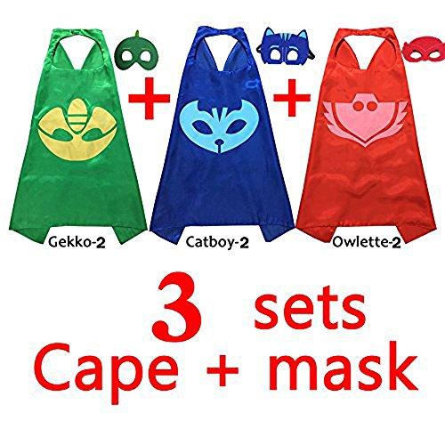YGQL PJ Masken-Kostüme für Kinder im Set, 3Stück: Catboy / Owlette / Gekko, Maske mit Umhang (69,8cm)