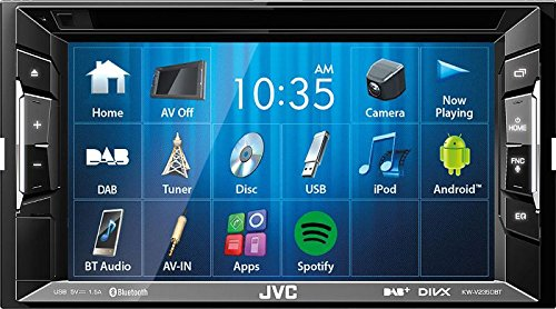 JVC Autoradio 2 DIN Spotify Control mit Bluetooth für Peugeot 307 + CC SW ab 2005 incl Einbauset piano black