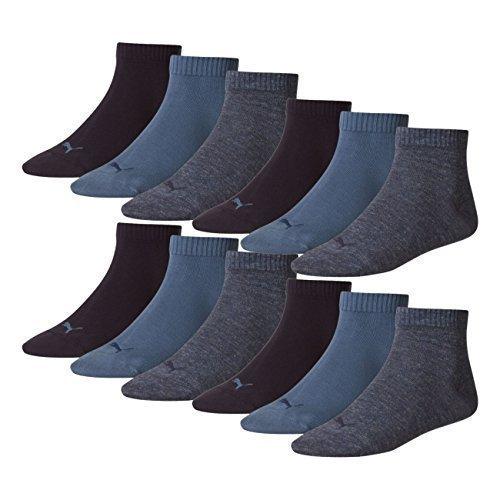PUMA Unisex Quarter Quarters Socken 12er Pack, Größe:35-38;Farbe:denim blue (460)