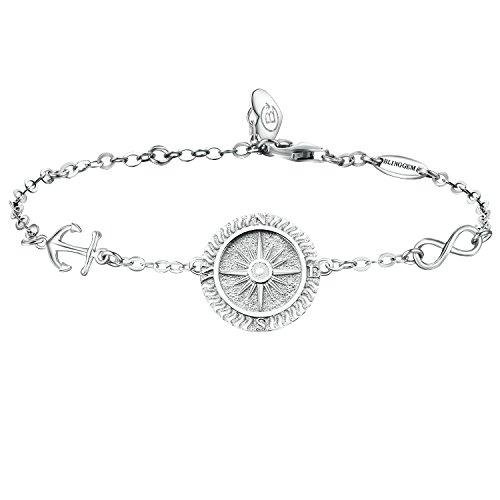 BlingGem Kompass Armband Damen Egal Wo 925 Sterling Silber Scheibe Armband Richtung Gravur Muttertag Geschenk für Damen/Frauen