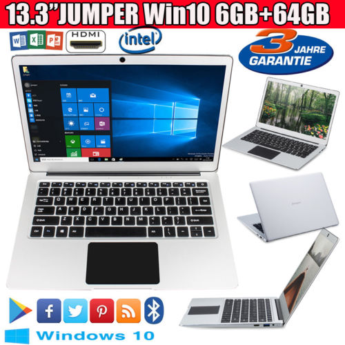 """13.3"""" 6+64GB JUMPER Ezbook 3 Pro Support Win10 1920*1080 Notebook BT Laptop WLAN"""