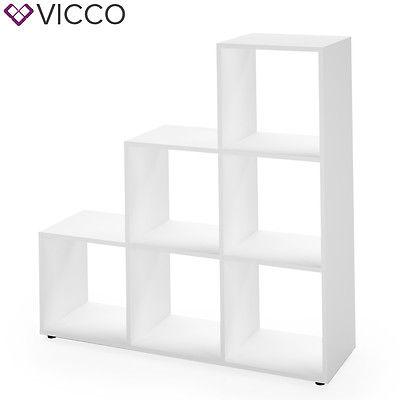 VICCO Treppenregal 6 Fächer Weiß Raumteiler Stufenregal Bücherregal Treppe Regal