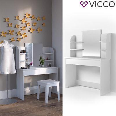 VICCO Schminktisch CHARLOTTE 142x108 cm Weiß - Frisiertisch Kommode Spiegel