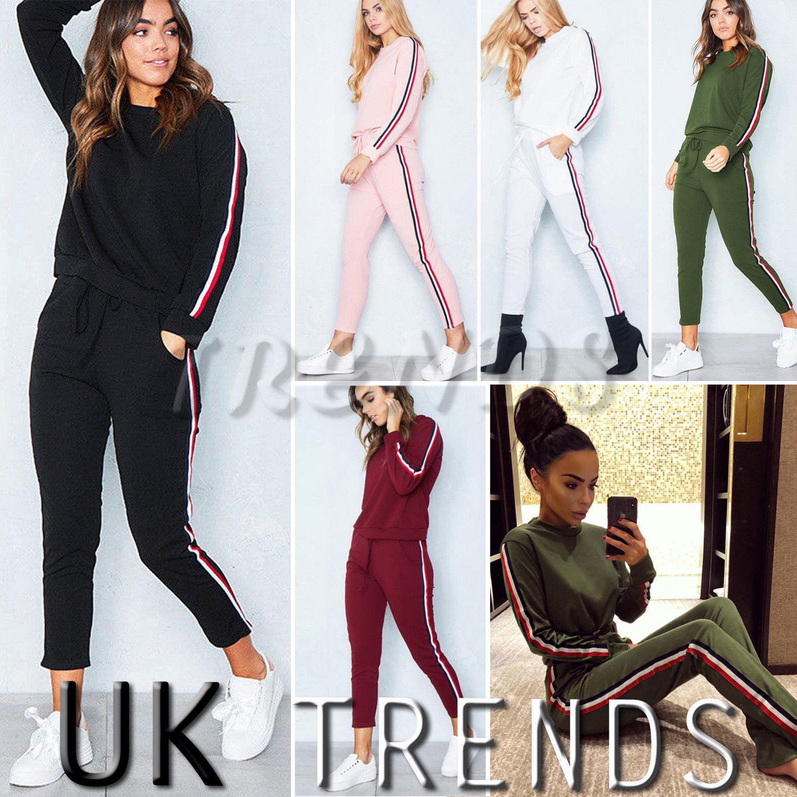 UK Womens 2 PCS Tracksuits Set Ladies Striped Active Sport Loungewear Size 6-16