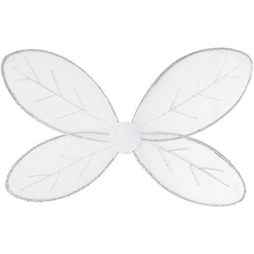 dressforfun Schmetterlingsflügell in Weiß mit Glitzerumrandung und Glitzerdetails auf den Flügeln | inkl. Gummibändern zur Befestigung am Rücken | 62,5 x 40,5 cm