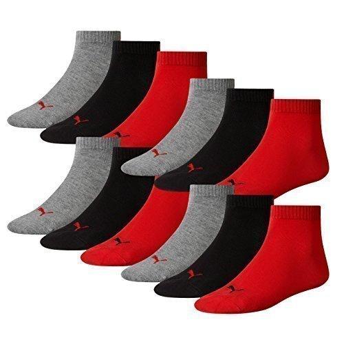 PUMA Unisex Quarter Quarters Socken 12er Pack, Größe:35-38;Farbe:black/red