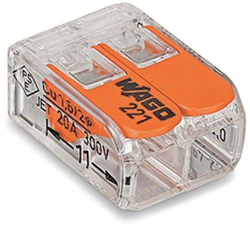 Wago 221-412 Verbindungsklemme 2 Leiter mit Betätigungshebel 0,2-4 qmm kleine Bauform transparent