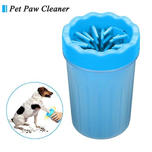 Hunde Pfote Reiniger, Focuspet 10x10x15cm Pfotenreiniger Tragbarer Pet Reinigung Pinsel Tasse Hundepfote Reiniger Fuß Reinigungsbürste Fuß Waschen Tasse Für Hunde Katzen u. Andere Haustiere Blau