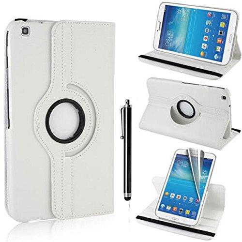 Samsung Galaxy Tab 3 8.0 Case - weiß PU Leder Schutz Hülle 360° drehbar Case für Samsung Galaxy Tab 3 8.0 Zoll SM-T310 Lederhülle Tasche Flip Cover Etui Grün Schutzhülle mit Schwenkbar flexiblem Ständer + Displayschutzfolien und Stylus