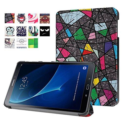 Hülle für Samsung Galaxy Tab A6 10.1 - Ultra Dünn Smart Cover Leder Case Schutz Hülle Tasche + Back Case für Samsung Galaxy Tab A (2016) SM-T580N/T585N 25,54 cm (10,1 Zoll) Schutzhülle Leder Skin (#2 Bunte Baum)