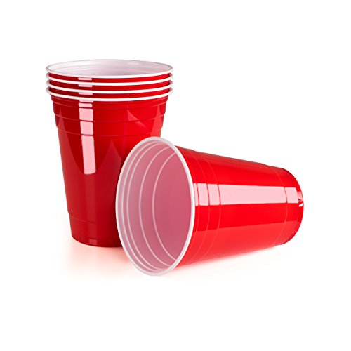 Rote Partybecher 100 Stück | Beer Pong Party Cups | Extra Starke Bierpong Becher Rot | Kunststoffbecher | Plastikbecher | Original USA Turnierbecher | Camping | Wiederverwendbar | 16oz 473ml | Vivaloo