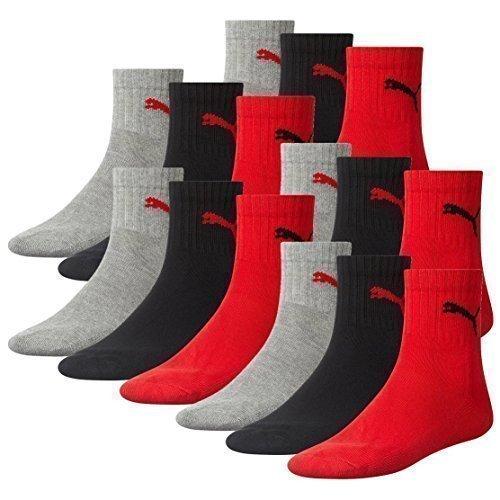 Puma Unisex Short Crew Socks skarpety sportowe, ze spodem z materia?u frotte, 12 par, kolor: szary/czarny/czerwony, rozmiar: 35–38