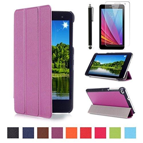Huawei MediaPad T1 7.0 Slim Smart Hülle Case - PU Leder Schutzhülle Case für Huawei Mediapad T1 7.0 Zoll Tablet Tasche Etui Sleeve Smart Cover mit Magnetic Magnet und Standfunktion + Displayschutzfolien und Stylus,Lila