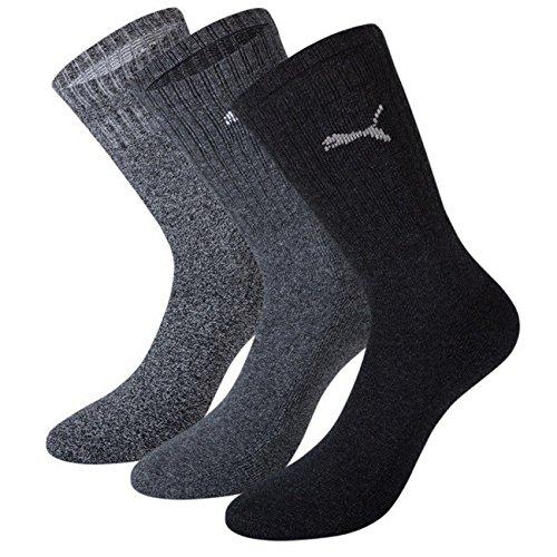Puma Unisex Crew Socken Basic Sportsocken 12er Pack, Größe:43-46;Farbe:anthracite/grey