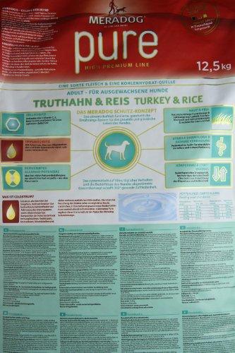 MERADOG PURE Adult Trockenfutter I Hundefutter ohne glutenhaltige Zutaten für sensible Hunde mit Truthahn und Reis I 12,5 Kg