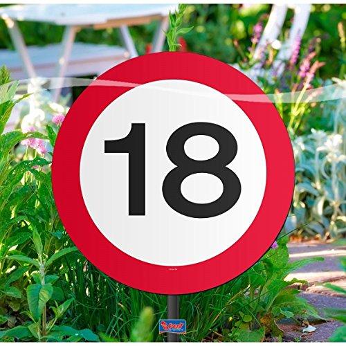 Gartenschild für Geburtstagsparty, Verkehrsschild, 18. Geburtstag