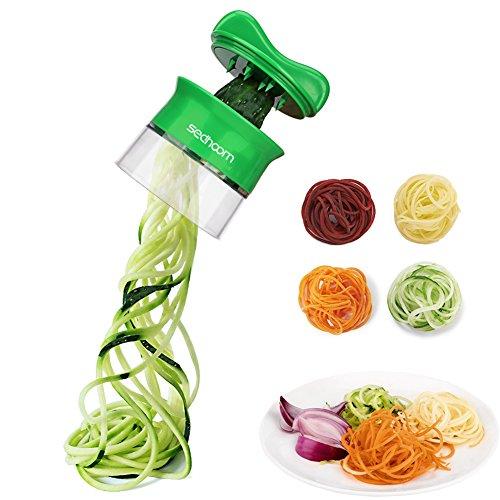 Spiralschneider Hand für Gemüsespaghetti, Sedhoom Gemüsehobel für Karotte, Gurke, Kartoffel,Kürbis, Zucchini