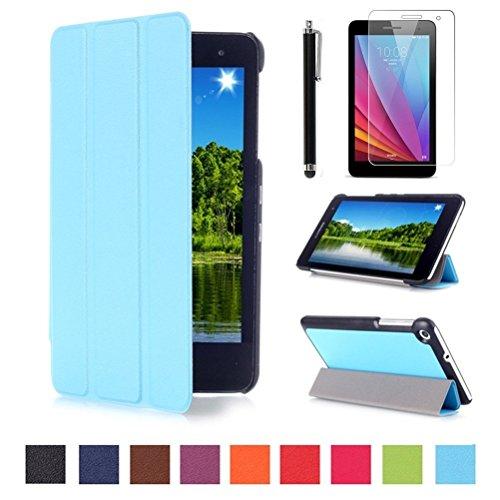 Huawei MediaPad T1 7.0 Hülle Case - Ultra Slim Leder Tasche Hülle Etui für Huawei Mediapad T1 7.0 Zoll Tablet Schutzhülle Smart Case Cover mit Standfunktion + Displayschutzfolien und Stylus,Hellblau