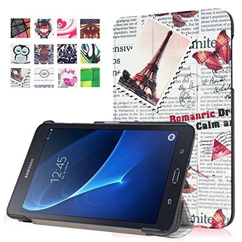 Samsung Galaxy Tab A 7.0 hülle,PU Leder Tasche Flip Cover Case Schutzhülle Schale Skin für Samsung Galaxy Tab A (2016) 17,8 cm (7 Zoll) SM-T280 Hülle Ledertasche ( Vintage Zeitungen)