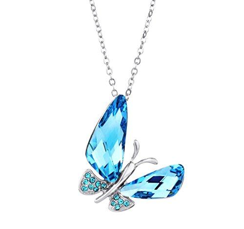 NEOGLORY Swarovski Elements Halsketten Schmetterling Blau Kristall