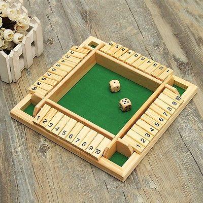 Holz Spiel Würfelspiel Klappenspiel Brettspiel Klappbrett für Shut the Box