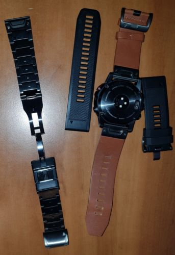 Garmin fenix 5X Saphir GPS Smartwatch mit Armbändern Silikon/Leder/Edelstahl