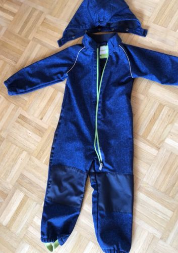 Softshell-ANZUG 98/104Overall Regenanzug Hose blau Matschanzug Kapuze