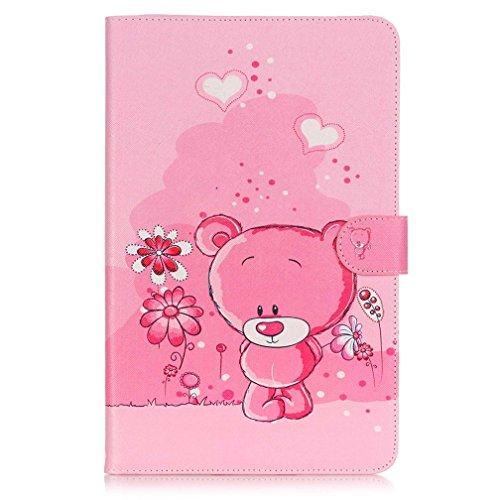Samsung Galaxy Tab A6 10.1 Hülle - Slim-Fit Flip Case Cover PU Leder Tasche Hülle im Bookstyle mit Standfunktion Schutzhülle für Samsung Galaxy Tab A 10.1 Zoll (2016) SM-T580N / SM-T585N Tablet Case Leder Etui Schalen (Rosa Bär)