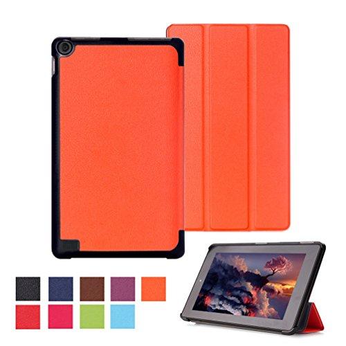 Ultra Slim Fire7 2015 Hülle Case Tasche PU Leder Schutzhülle für Amazon Fire (7-Zoll-Tablet, 5. Generation - 2015 Modell) Smart Cover Case Etui Schale mit Standfunktion - Orange