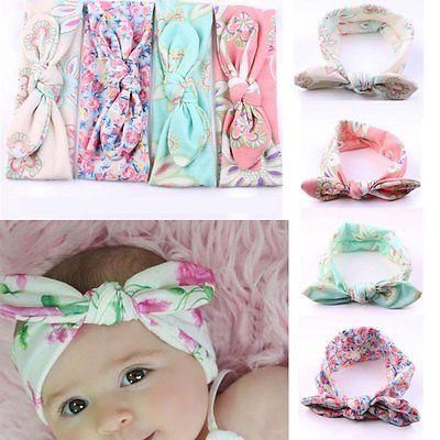 4PCS Set Baby Kinder Stirnband Schleife Haarband Mädchen Haarschmuck Farbwahl