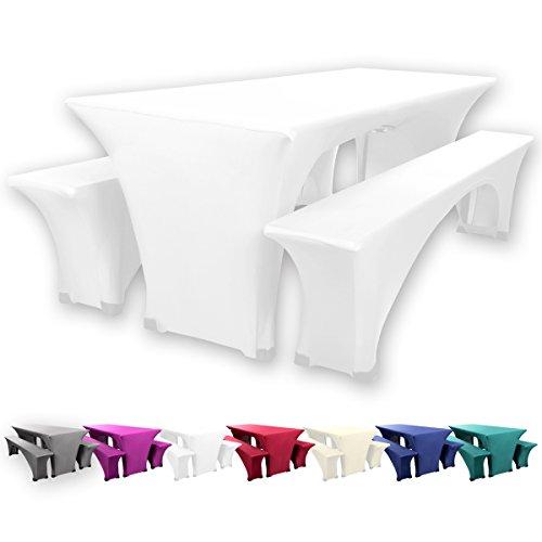 Gräfenstayn® Leopold Stretch Biertischhussen-Set 3 tlg für Bierzeltgarnitur – 70cm oder 50cm Tischbreite - mit Öko-Tex Standard 100 (70 x 220 cm, Weiß)
