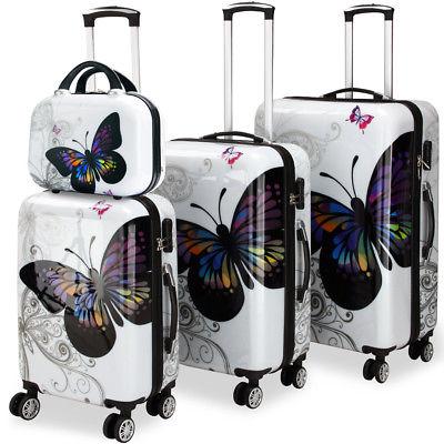 4tlg. Hartschalenkoffer Butterfly Beauty  Reisekoffer Zwillingsrolle Beautycase