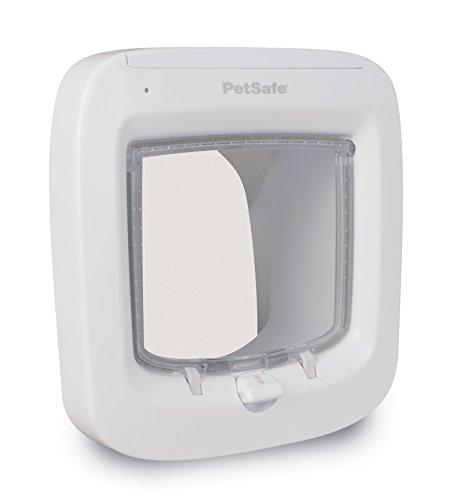 PetSafe Mikrochip Katzenklappe, Haustierklappe, weiß, 4 Verschlussoptionen, Teleskoprahmen, Tunnel, robust, wetterresistent, einfache Installation, batteriebetrieben, 22x 23,9 cm