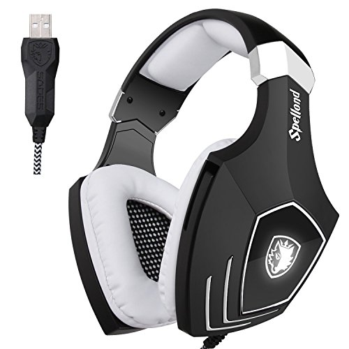 Sades OMG/A60S Surround Sound USB Audio Over Ear Gaming Kopfhörer Headset mit Mikrofon Lautstärkenkontrolle LED Effekt für PC/MAC/Laptop/Tablet/Computer(schwarz/weiß)