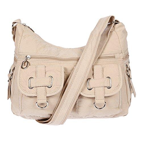 Christian Wippermann Damenhandtasche Schultertasche aus Canvas (Beige)
