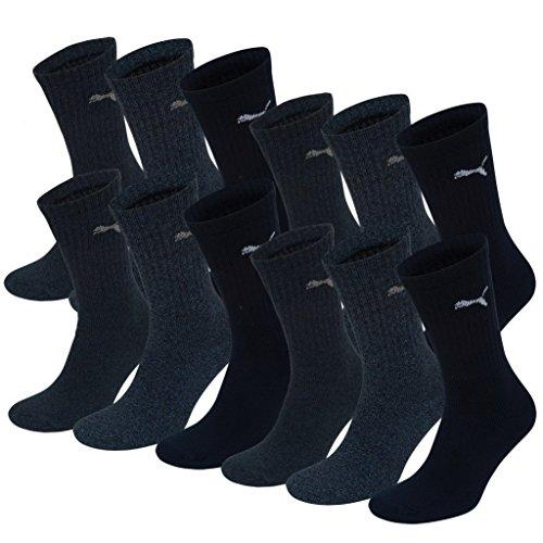 PUMA Unisex Crew Socks Socken Sportsocken MIT FROTTEESOHLE 12er Pack navy 321 - 35/38
