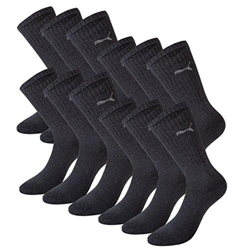 PUMA Unisex Crew Socks Socken Sportsocken MIT FROTTEESOHLE 12er Pack anthracite 201 - 35/38