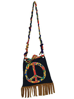 CND Hippie Hippy Flower Power Denim 60s 1970s Handbag Fancy Dress Accessory New