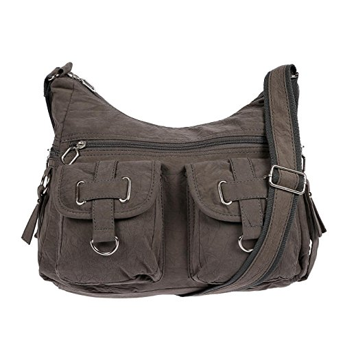 Christian Wippermann Damenhandtasche Schultertasche aus Canvas Grau