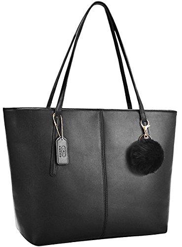 Damen Handtasche,Coofit Handtasche Damen Handtasche Shopper Taschen Umhängetasche Schwarz Handtasche Große Handtasche (Schwarzer Anhänger)