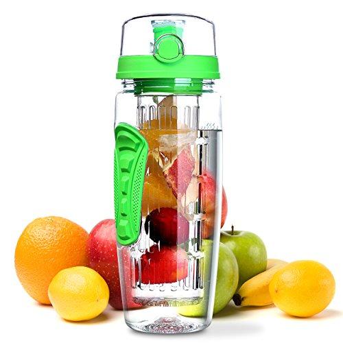 Wasserflasche, Omorc [BPA-frei Tritan] Kunststoff Trinkflasche Sport Flasche 1L Sportflasche Auslaufsicher, Trinkflaschen mit Verschluss & Tragehenkel für Fruchtschorlen/Gemüseschorlen (Grün)