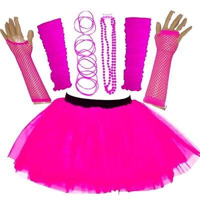 NEW WOMEN'S NEON TUTU SKIRT SET HEN PARTY 80'S FANCY DRESS ACCESSORIES ONE SIZE