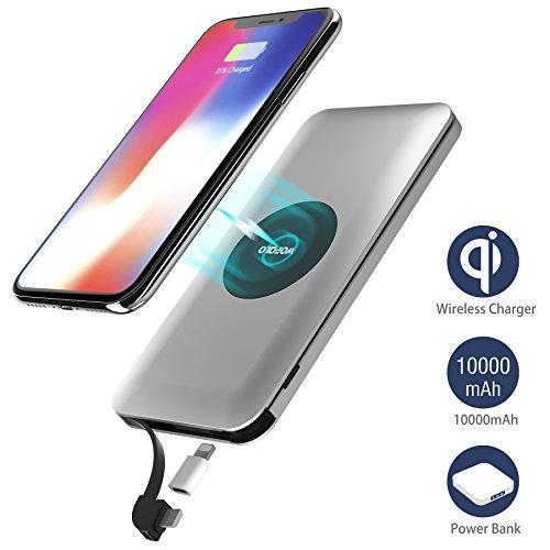 wireless power bank 10000mAh,wofalo 2 in 1 Kabellos Qi-Ladegerät und Powerbank Für 3 Geräte gleichzeitig aufladen kompatibel mit Samsung Galaxy S9/S9 Plus/S8/iphone X/8/8plus/HuaWei und Alles Qi Geräte